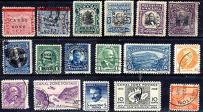 Canal Zone stamps. 17 all different used.