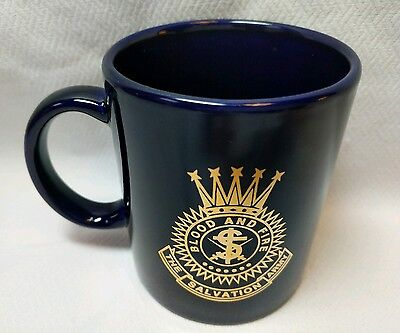 Blue Coffee Mug Cup The Salvation Army Blood and Fire with Gold Lettering