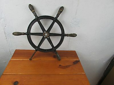 """Ships Wheel Antique Cast Iron and Wood 20"""" Diameter Marked """"P"""" Great Look!!!!"""