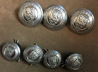 Set Of Seven Vintage Dyfed Fire Brigade Buttons