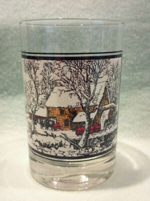 Currier And Ives Glasses/cups/mugs # 4 Frozen Up