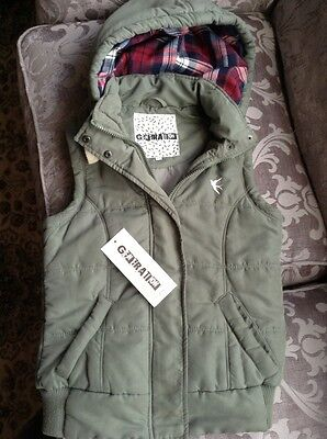 Girls New Look Khaki Green Hooded Padded Quilted Waistcoat Gillet 12-13yr
