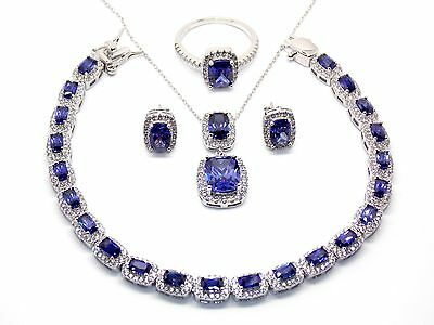 Sterling Silver Tanzanite And Diamond 28.5ct Emerald Cut Necklace Set (925)