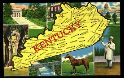 Map of Kentucky 1950s-70s mailed 1968