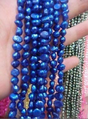 5-6mm Blue Freshwater Cultured Pearl Flat Gemstone Loose Beads 14''