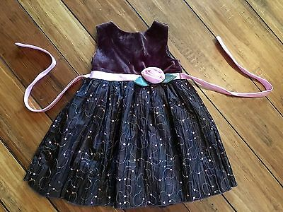 Youngland Baby Toddler Girl 2T Formal Holiday Party Photo Dress Pink Brown