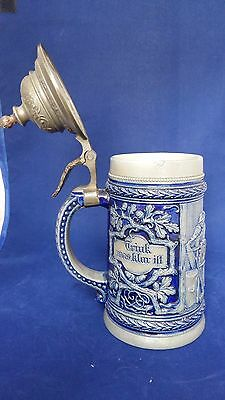 Attractive Lidded Stein Tankard with scene and message, present?