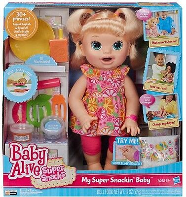 Baby Alive Super Snacks Snackin' Sara Blonde Girl Pay Doll *Great Holiday Gift*