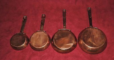4 X Graduated Tin Lined Copper & Brass Pans