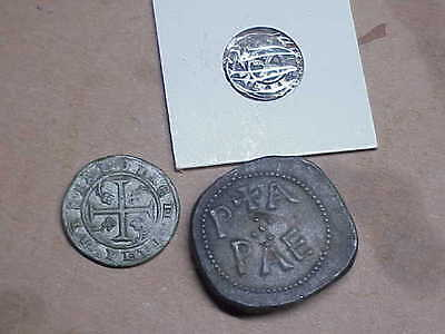 #918 Lot 3 Ancient Byzantine 1000 A.d. Christian Cross Coins Lead Silver Brass