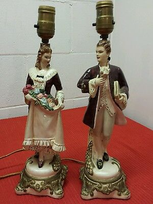 1931 Antique Hand-Painted Victorian Chalkware Electric Table Lamps - Rare Set!