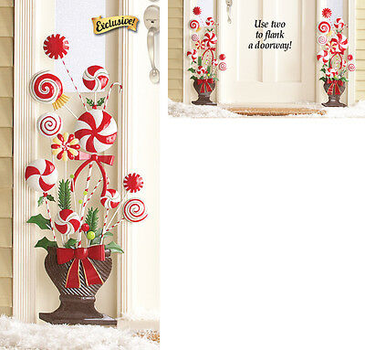 Peppermint Candy Cane Christmas Topiary Wall Decoration