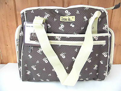 Diaper Changing Bag ~ Brown with Flowers ~ New ~ Free Shipping