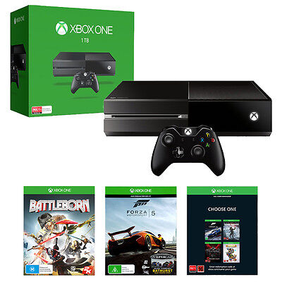 Xbox One 1TB Console + Forza Motorsport 5 + Battleborn + Name Your Game Code NEW