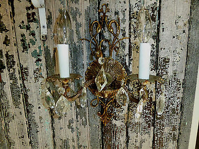 Vtg French Style Metal & Crystal Wall Sconce Thomas Industries Inc Beaver Dam Ky