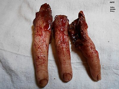 HORROR PROPS 3 Silicone Fingers ZOMBIE BODY PARTS Freak Show FX Halloween LOT