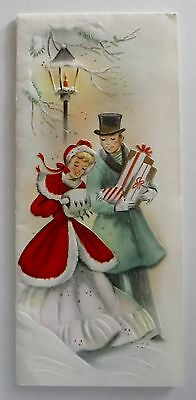 Vintage Christmas Card Beautiful  Victorian Couple