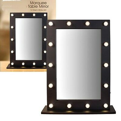 Large LED Lights Black Wooden & Glass Hollywood Vanity Dressing Table Mirror