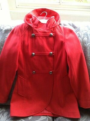 Girls Red Military Style Double Breasted Coat Fully Lined Polka Fabric 11-12yr