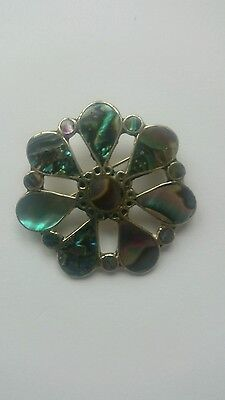 Vintage ~ Mexican Silver Abalone Shell Brooch