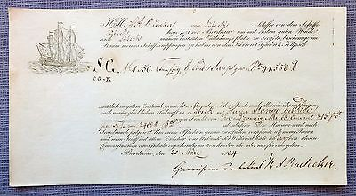 Germany  Revenue - Bill of Lading 1834 - From Bordeaux to Hambourg  (Wine )