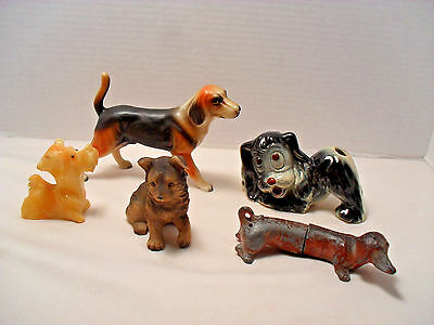 Lot of 5 Dog or Puppy Mixed Vintage Collectibles Figurines Shaker Marble Plastic