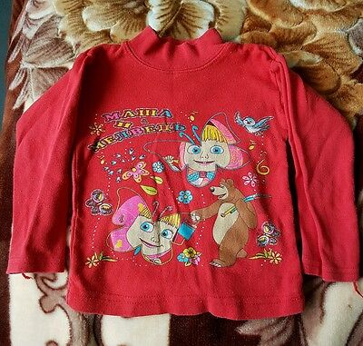 baby girl masha and the bear roll on neck jumper, top size 12-24 months