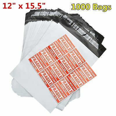 1000 12 x 15.5 Poly Mailers Shipping Envelopes Plastic Self Sealing Bags 2.5 Mil
