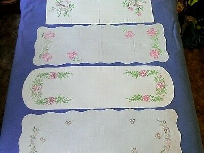Lot of 4 Embroidered Table Runners Cross Stitch Bird Floral Rose