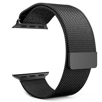 Black Milanese Loop Strap Stainless Steel Magnetic Band for Apple Watch 38mm T3