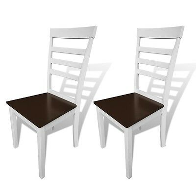 New 2 pcs Brown White Solid Wood Dining Chairs Durable Stable Kitchen Furniture