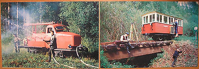 Set of 2 cards with Russian USSR narrow gauge equipment