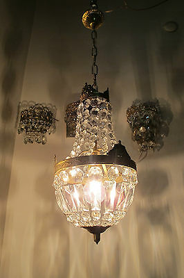 VNT French Pretty Basket Style  Crystal Chandelier Lamp Light 1940s 8""