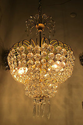Antique Vnt French Waterfall Style Czech Crystal Chandelier Lamp 1960's 15in****