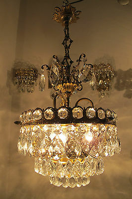 Antique Vnt French Basket Style Crystal Chandelier Ceiling Light 1940s 13in dmt*
