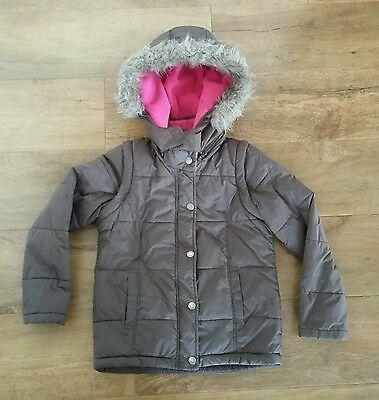 Mini Boden Girls 2 In 1 Coat Jacket Gilet Padded Brown & Pink 7-8 Years