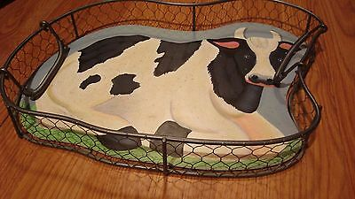 Cow Tray Large Metal   Holstein  Removable insert.