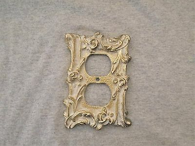 Vintage Brass Electrical Wall Outlet Plate Cover French Provincial Finish 2 Gang