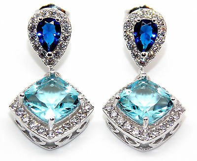 Sterling Silver Blue Sapphire, Sky Blue Topaz And Diamond 6.26ct Earring (925)