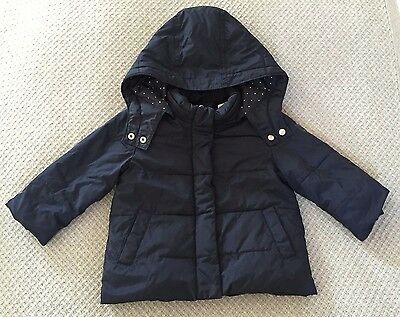 GAP Navy Blue winter coat with removable hood - 2 years