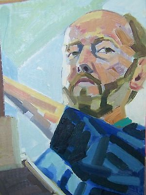 oil painting self portrait oncard board original  by D A Phillips34x49