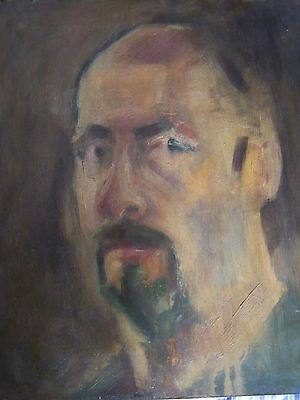 painting of self portrait on board by D A Phillips 37x42cm original