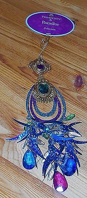 """NEW  Dangle Jeweled Teal Turquoise Peacock Feather Christmas Ornament 10"""""""