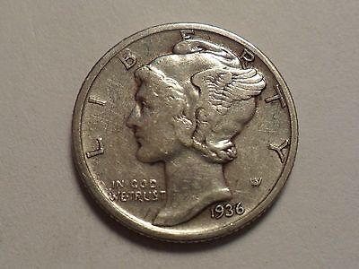 1936-D  Nice Better Date 90% Silver Winged Liberty Head - Mercury Dime!!!!