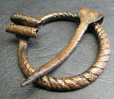 Ancient Bronze Viking FIBULA (Z3). Cleared.