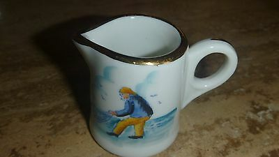 Vintage - Small Pitcher with handle Fisherman with a net and gold trim