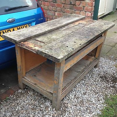 Industrial Vintage WoodenOld Fashioned Carpenters Bench Kitchen Island Shop Prop