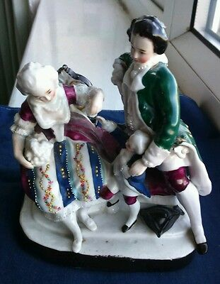 Vintage Porcelain Figure family Group Continental markings on Base