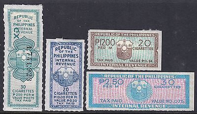 Philippines Cigarette Revenue Stamps  (4) Unused