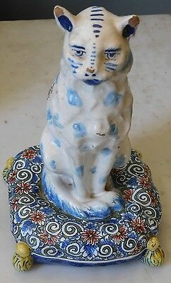 Antique 19Th Century Porcelain Faience Seated Cat